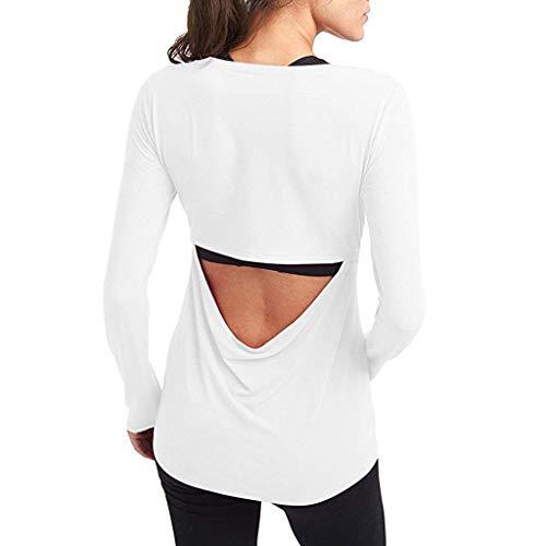 JERFER Rückenfreies Fitnessstudio öffnen Yoga Bluse Damen Sport Workout Langarmshirts ()