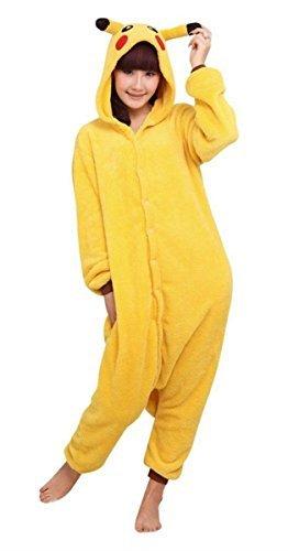 Minetom Pyjama Jumpsuit Tieroutfit Tierkostüme Schlafanzug Tiger Cosplay Sleepsuit mit Kapuze Erwachsene Unisex Lounge Fleece-Overall Kostüm Weiche Hausschuhe Bärentatze ( Pikachu EU XL (Pikachu Kostüme Bilder Von)