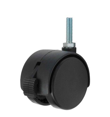 Doppel-Caster mit 2twhn-50N-t10-bk-b, Durchmesser Rad Caster mit Bremse aus Nylon, 5/16–18cm x 1cm Durchmesser mit Gewinde Stem, 110Pfund Kapazität Serie