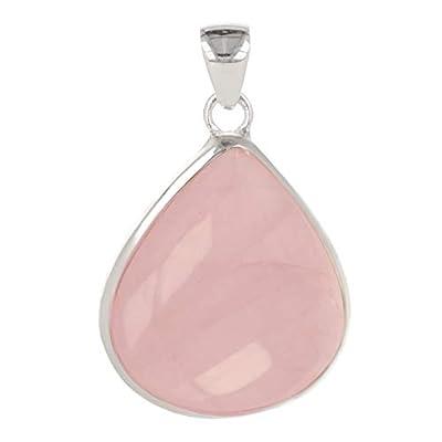 Idée cadeau Maman-Pierre de quartz rose naturel-Pendentif rose Forme poire-femme