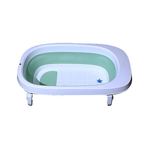 XUEPING Baby-Faltbad, Badewanne Aus Kunststoff Tragbar Umweltschutz Geruchlos Oval Großer Raum L 86 * B 49 * H 21,5 Cm 2 Farben (Farbe : Green)