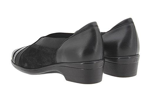Scarpe donna comfort pelle PieSanto 9608 scarpe casual comfort larghezza speciale Negro