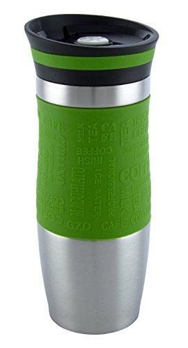 Vakuumisoliert Hervorragende Qualität Thermobecher Travel mug Für Kaffee oder Tee Rostfreier Stahl Thermosflasche Doppelwandig Ein Hand öffnen (380 ml, Grün)