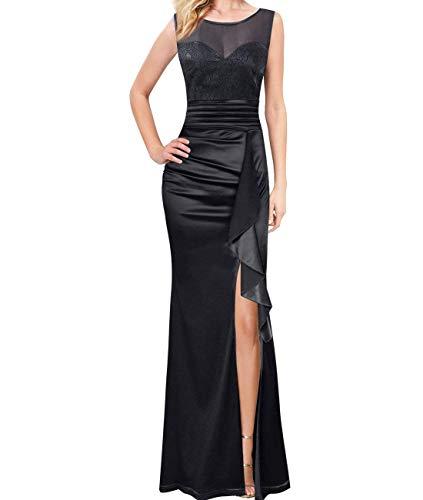 CuteRose Womens Sleeveless Sheer Split Satin Mermaid Bodycon Full Length Dress Black S - Hollywood Womens Long Sleeve