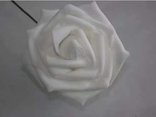 Snner Lot 50pcs Fleurs Mousse Rose Artificielle Tête Mariée Bouquet Décoration Mariage Partie - Blanc, 6-7cmx 3.5cm