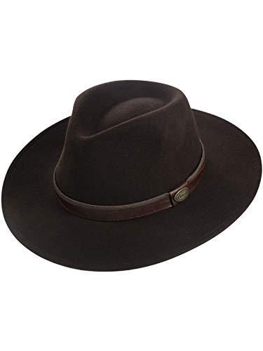 Harrys-Collection Rollbarer Hut mit breiter Krempe braunes Stoffband in 3 Farben!, Farben:Dunkelbraun, - Harry Hat Mann Kostüm