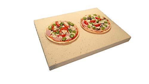 Pizzastein rechteckig für Backofen & Grill | 40 x 30 x 3cm - Aus massiver Schamotte - Lebensmittelecht | Verwendbar als Brotbackstein & Flammkuchenplatte | Profi-Qualität wie beim Italiener