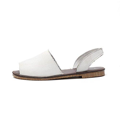 und Weichen Flachen Sandalen Damen Fisch Mund Espadrilles Sommer Chunky Urlaub Schuhe (43, Weiß) ()