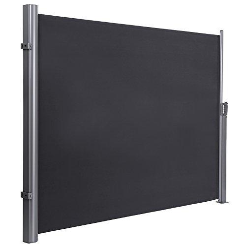 SONGMICS 160 x 350 cm (H x L), Seitenmarkise für Balkon und Terrasse, Sichtschutz, Sonnenschutz, Seitenrollo, rauchgrau GSA165G