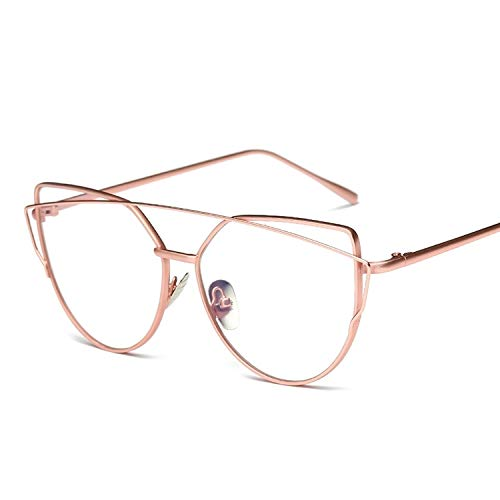 Y-WEIFENG Frauen Metallrahmen Brillen Brillengestell ohne Rezept (Farbe : Rosa)