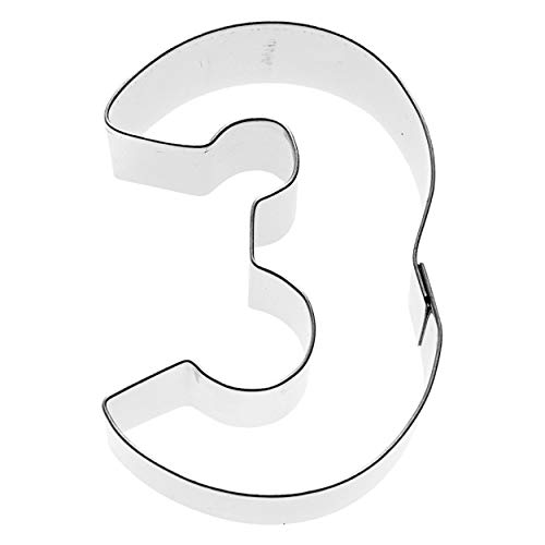 Birkmann 1010713410 Ausstechform Zahl 3, 6 cm, Kunststoff, Grau, 5 x 3 x 2 cm