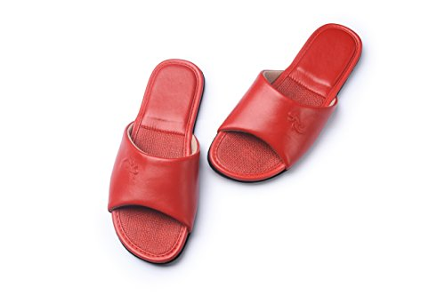 KENROLL pantofole pavimento confortevole e lussuoso interno pantofole in pelle antiscivolo flip flop Scarpe da uomo (8.5-9 UK/44-45 EU, Nero) Rosso