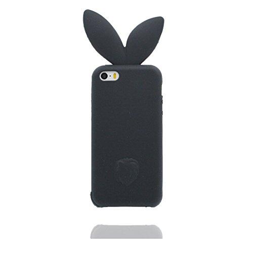iPhone 5 Coque, Étui Cover Housse pour iPhone 5S 5C 5G, Durable TPU Rubber Skin Soft Shell iPhone SE Case, Résistant à la poussière Scratch (3D Cartoon lapin oreille) et stylet Pink Noir