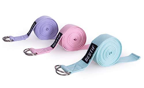 BESTIF Yogagurt 3m Yoga Belt mit Verschluss | Yoga Strap für bessere Dehnung | Unterstützung für Yogapraxis | Stretch Band aus Baumwolle