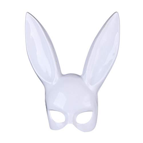 LEEDY ❤ Erwachsene Bunny Maske Frauen Masquerade Hasenmaske Kaninchen Maske Bunny Rabbit Maske für Geburtstagsfeier Ostern Halloween Bar Kostüm Cosplay Zubehör (Helles Schwarz, Weiß) (Weiß) (Catwoman Halloween-kostüm Neue)