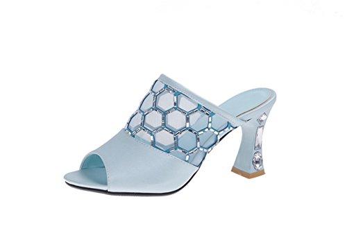 versione estiva coreana dei sandali e ciabatte tacco alto/Moda diamante sandali signora cava-B Lunghezza piede=24.3CM(9.6Inch)