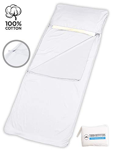 Tough Outdoors Robuster Schlafsack für draußen, XL - Reisetuch & Schlafsack - leicht und ideal für Reisen, Hotels, Camping & Rucksackreisen, Unisex, 100% Cotton (Bed Bugs Liner)