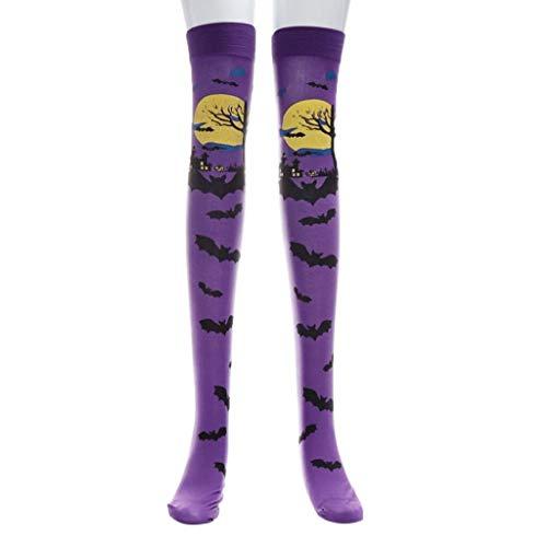 Halloween Kostüm Socken Rovinci Funky Blutige Strumpfhose Strümpfe Geschenk Neuheit Overknees Horror Mode Sport Casual Knie Hohe Socken Stockings Party Cosplay für Männer Damen Kinder Unisex (Lila)