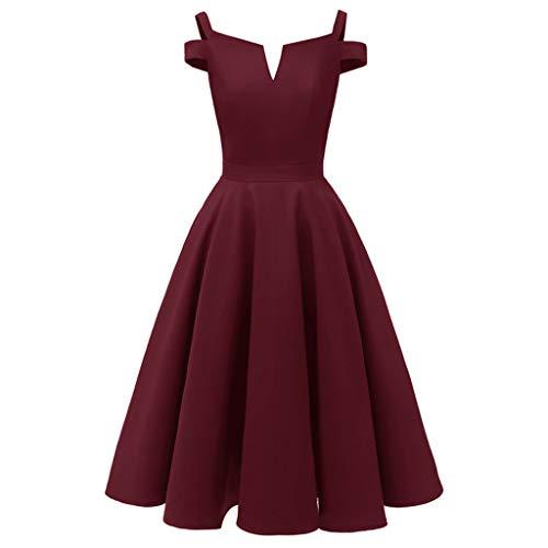 SoonerQuicker Kleid Festlich Damen äRmelloses Kleid Rock Vintage Prinzessin Cocktail Party Sling Party Swing Kleider Wein XL -