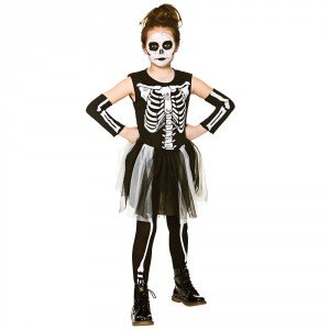 Skelebones Girl's Costume Skeleton Halloween Fancy -