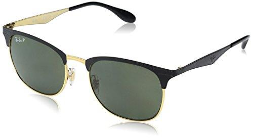 Ray-Ban Unisex Sonnenbrille Mod. 3538, Mehrfarbig (Gestell: schwarz Gold, Gläser: dunkelgrün polarisiert 187/9A), Large (Herstellergröße: 53)