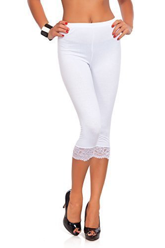 Futuro Fashion Abgeschnitten 3/4 Länge Baumwollleggings Mit Spitze Alle Farben & Alle Größen - Weiß, 40