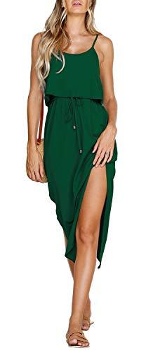 ZJCTUO Damen Sommerkleid Spaghetti Strap Boho Lange Casual Elegant Kleider Partykleid Strandkleid -