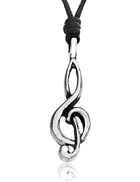 Llords Schmuck Musik Symbol Halskette mit Violinschlüssel Notenschlüssel Anhänger + Versilberter Verschluss, feinster...