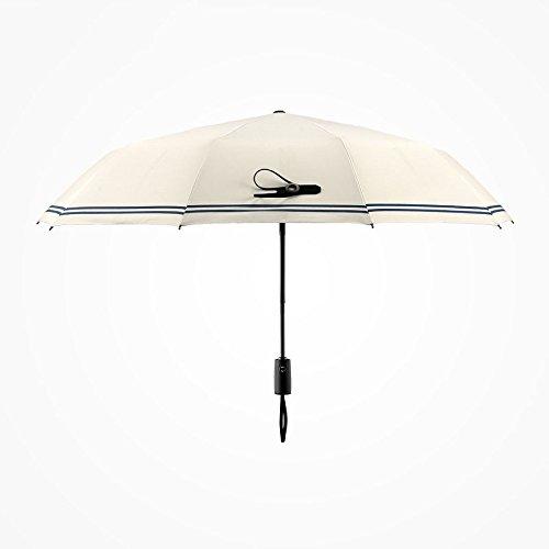 pllp Automatischer Regenschirm 30 Prozent doppelter faltender Regenschirm, kreativer Streifen der Männer weiblicher schwarzer Plastikregenschirm,Polieren,Einheitsgröße