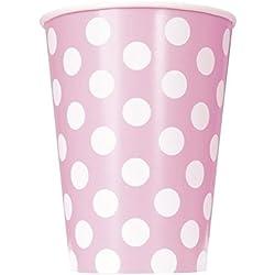 Takestop Juego de 72vasos de papel para fiestas, color rosa con lunares, desechables, para cumpleaños, bodas, nacimientos, bautizos, fiestas.