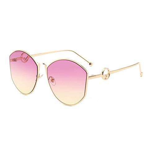 HQMGLASSES Überdimensionale Cateye-Sonnenbrille für Frauen Fashion Gradient Lens Shades Sonnenbrille -UV400 Schutz für Driving Beach,GoldFrame/PurpleYellowLens