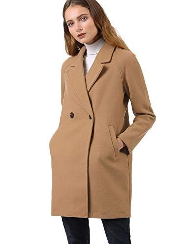 Allegra K Damen Langarm Revers Zweireiher Raglan Wollmantel Mantel Khaki XS (EU 34) -