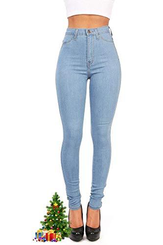 Hooleeger High Waist Jeans Damen Skinny Stretch Regular Fit Basic Jeanshose