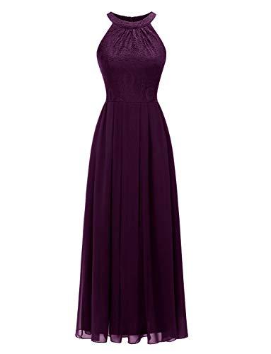 Aupuls 0040 Damen Maxi Lang Abendkleider Elegant Spitzen Ballkleid Ärmellos Hochzeit Grape L -