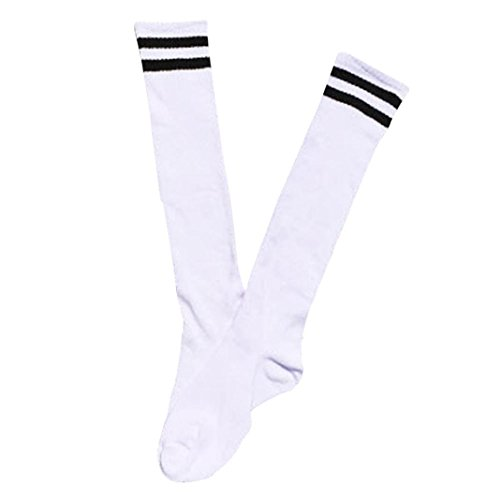 Jungen 1-7 Jahre alt Sportsocken Transer® Knie-Lange Baumwolle Draussen Fußball Basketball Baseball-Socken Strümpfe Größe: 15+32 cm (Weiß) (Leder-kinder-basketball)
