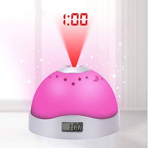 RNNTK Reloj Despertador Proyector, Multiusos Luces De Colores Luz De Noche Despertador Creativo Circulo...
