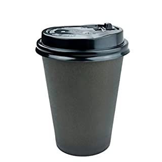 Anbers Pack of 100, 8 Oz Paper Coffee Cups with Travel Lids, Black
