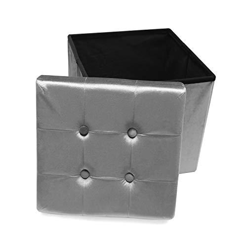 MaisonMaligne Sitzhocker faltbar mit Stauraum - Design Hocker 38 x 38 x 38 cm (LxBxH) - Aufbewahrungsbox Grau mit Deckel - Sitzwürfel Samt Polsterhocker Schemel Sitzwürfel Fußablage Spielzeugtruhe