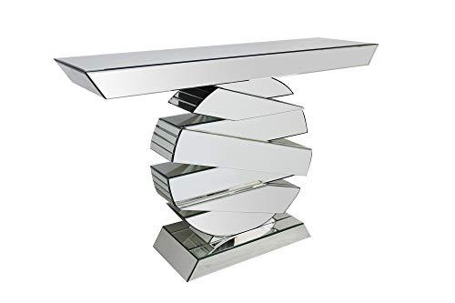 SalesFever Konsolentisch Lexi   Flurtisch aus MDF Holz   Oberflächen verspiegelt aus Glas   Beistelltisch rechteckig   Silber-farbig   Futuristisches Design