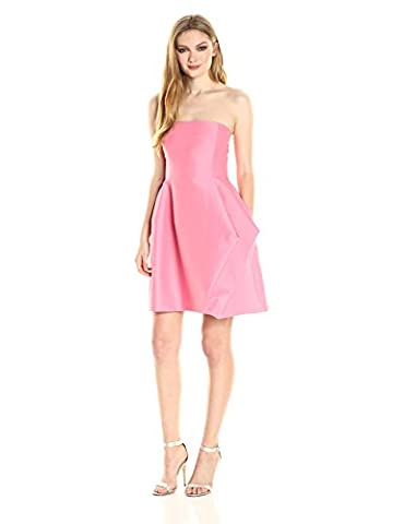 Halston Heritage womens Strapless Silk Faille Dress With Folded Drape