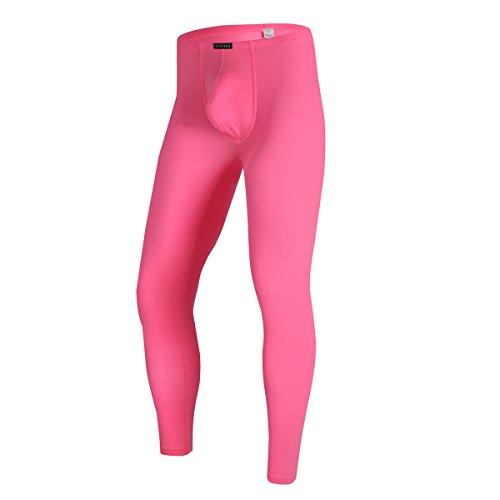 Lange Unterwäsche, Hose (YFD Herren Lange Unterhosen mit Weichbund transparent Hose Unterwäsche Strumpfhose Leggings (M, Rose))