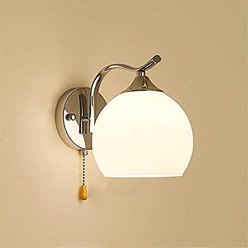 Branddb LED Wandleuchten Simplicity Wandleuchte Schlafzimmer Nachttischlampe Modern Minimalist - 40 Watt Kugelglasleuchten für Wohnzimmer/Gang/Treppe/Wandleuchte Zugschalter