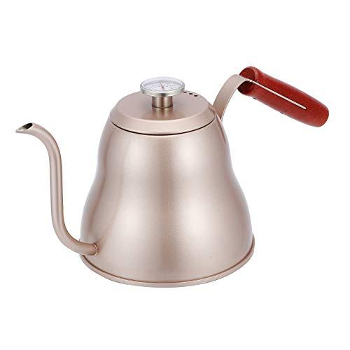SULIVES Kaffeekessel Edelstahl mit Thermometer, 1 l/34oz,Wasserkessel Edelstahl mit schwanenhals,gooseneck pour over coffee kettle für präzises Ausgießen - Champagner