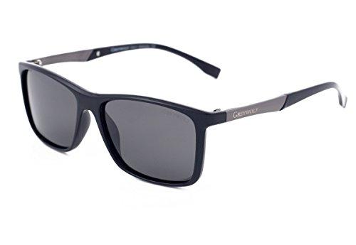 Grey Wolf Sonnenbrille für Herren und Damen, polarisiert, hellgraue Gläser, schwarzer Rahmen, blendfrei, UV-Strahlenschutz