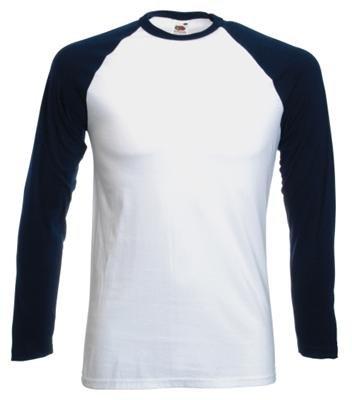 Fruit of the Loom Baseball Langarm ( Longsleeve ) T-Shirt S M L XL XXL Weiss – Navy,XL