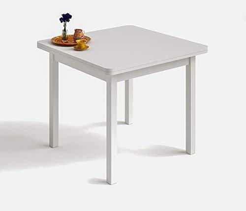 HOGAR24 es- Mesa Cuadrada Multiusos Comedor Cocina Dimensiones 90 cm x 90 cm Extensible Libro a 180 cm x 90 cm Color Blanco