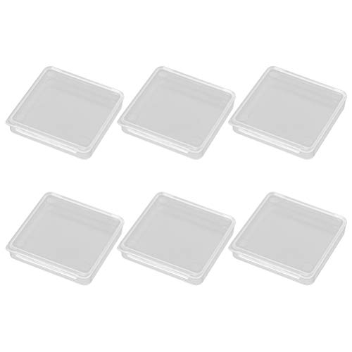 Healifty Mini Square Kunststoff Aufbewahrungsbox Clear Storage Containers Box Fall für Perlen Schmuck 6 Stück 4x4x1cm (Storage Container Kunststoff-square)