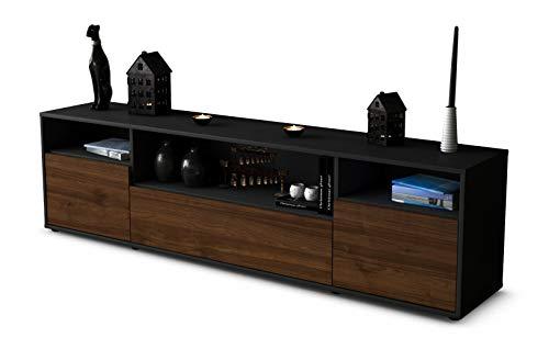 Stil.Zeit TV Schrank Lowboard Bionda, Korpus in Anthrazit Matt/Front im Holz-Design Walnuss (180x49x35cm), mit Push-to-Open Technik und Hochwertigen Leichtlaufschienen, Made in Germany