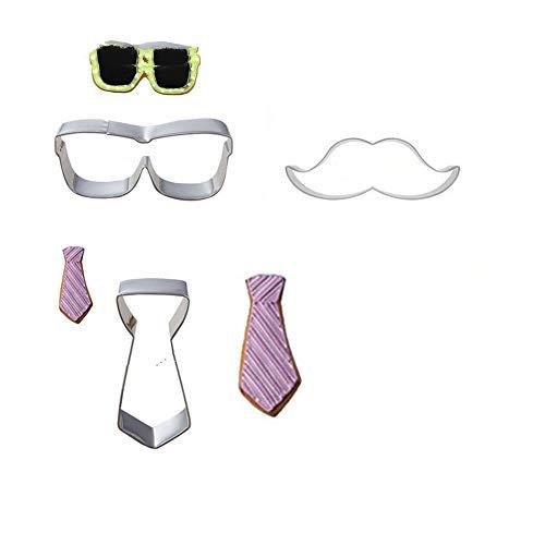 XiYon 3 Teile/Satz Schnurrbart Krawatte Sonnenbrille Rahmen Metall Ausstechformen Backformen Kuchen Dekorieren Keks Stempel Küche Backen Zubehör