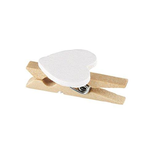 Elfenstall Kleine Mini Holz Wäscheklammern / Holzklammern / Dekoklammern mit Herz für in verschiedenen Farben 50 Stück (Herz weiss)